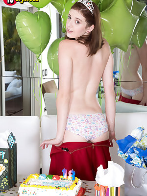 Petite teen girl Blaire Ivory models naked to celebrate birthday number 18