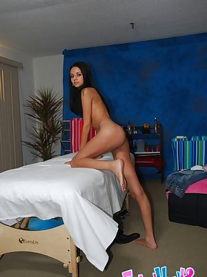 Young latina babe Marissa denudes her slim body in a massage salon