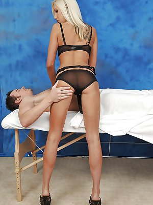 Babe in high heels gives nice massage in lingerie and gets fucked