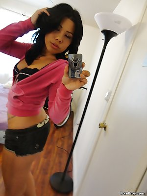Sexy brunette with tiny tits Summer Stetson strips in front of a mirror