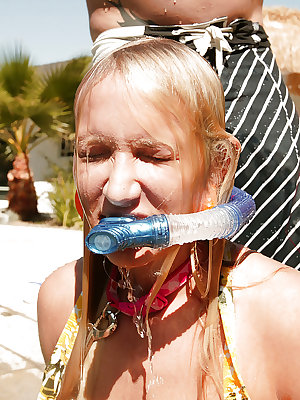 Teen babe Addison Cain poses by the pool and has BDSM sex