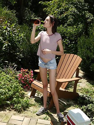 Extremely skinny amateur teen Aria Haze fucks herself with a beer bottle