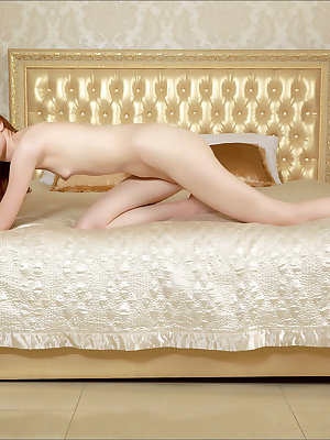 Flat chested pale redhead diffs her sheer lingerie to pose on her knees nude
