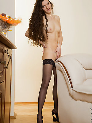 Skinny young girl Erika Rose pets her pussy in black stockings only