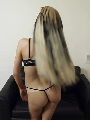 Dirty blonde first timer does a slow striptease until she's totally naked