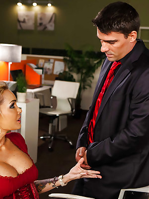 Luscious blonde office lady gives head and gets fucked for cum on her boobs