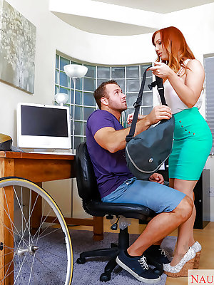 Redheaded office worker Dani Jensen giving CFNM bj before hardcore fucking