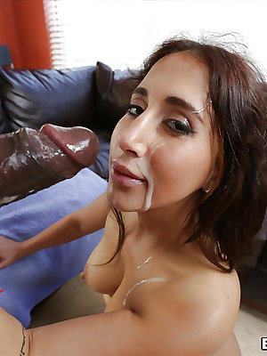 Pretty Latina Valerie Kay taking BBC in shaved pussy and cumshot on face