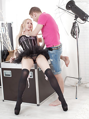 Nylon and corset clad blonde teen Olivia Grace taking rough sex and cumshot