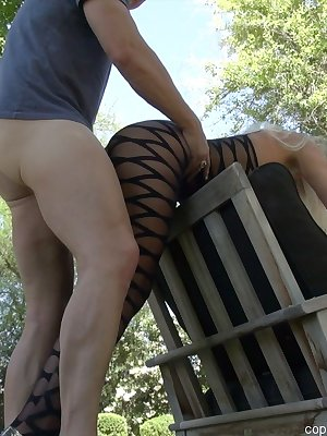 Juggy nylon clad mature knockout gets fucked for her mouth full of cum