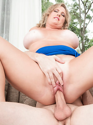 Busty mature plumper Candace Harley gives into her stepson's sexual advances