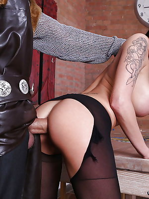 Gorgeous bitch Chantelle Fox gets her pantyhose torn and ass bored