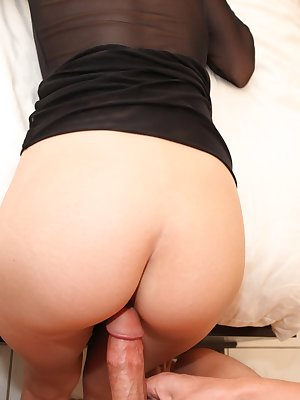 Hot skinny brunette with hairy cunt gives head and gets banged tough