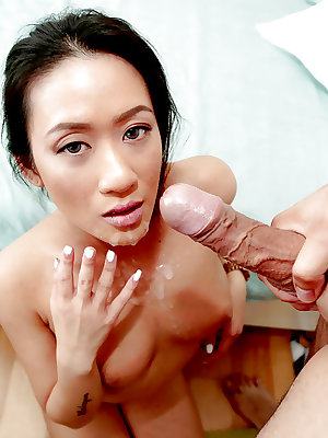Oriental first timer Amber using shaved Asian pussy to ride cock