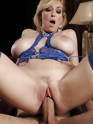 Blonde MILF in blue stockings Charlee Chase sucks and fucks a hard cock