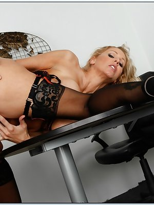 Hot secretary Julia Ann stripped from lingerie and fucked in stockings