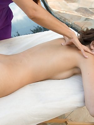Belle Knox visits Ariella Ferrera for the massage which turns into lesbian sex