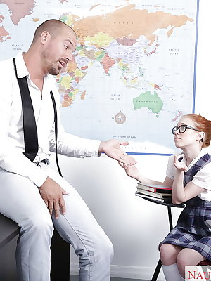 Glasses and uniform attired redheaded schoolgirl Dolly Little giving bj