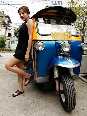 Phenomenal Thai local girl in lovely dress gets picked up on the street
