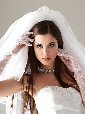 Glamour model Little Caprice strips off her wedding dress