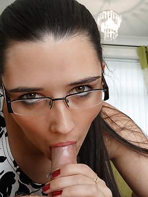 Nerdy female Pixiee Little licks and sucks her man's dick in glasses