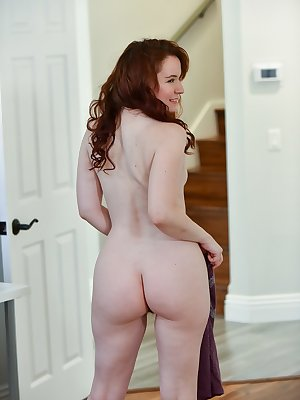 Pale redhead Annabelle works on her masturbation to orgasm technique