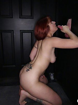 Tireless whore with red hair counts every cock she manages to blow out
