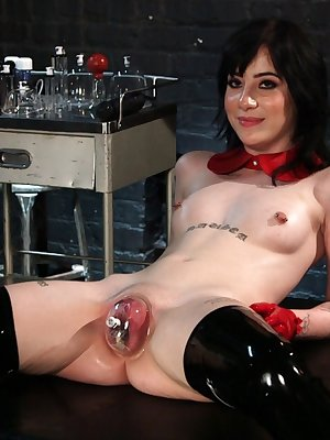 Dark haired girl Charlotte Sartre volunteers to be a BDSM demonstrater