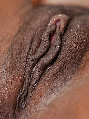 Black coed Priya spreading pink labia lips and fingering own asshole