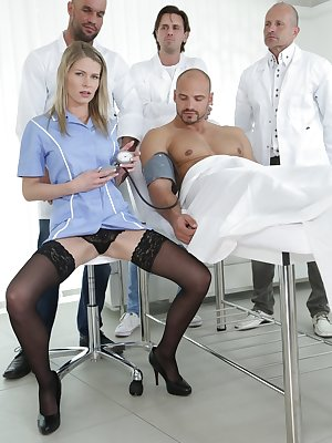 Sexy doctor Claudia Macc fucked by three colleagues and big-dicked patient