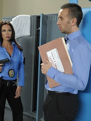 Horny female police officer Kirsten Price got done by her colleague
