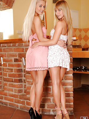 Sweet teenage cuties Bella Baby & Pinky June stripping off their clothes