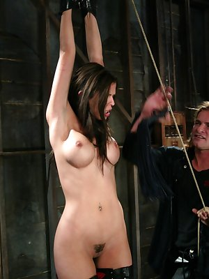 Brunette chick Shy Love has her pussy licked while suspended by her wrists
