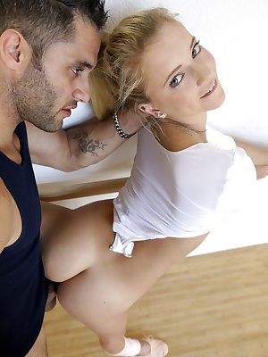 Beautiful blonde ballerina is simply irresistible to the male lead