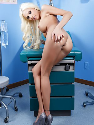 Skinny doll with big tits Rikki Six undresses while doctor is away
