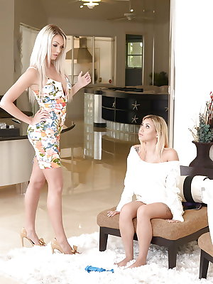 Blonde girlfriends Marsha May and Brooke Paige eat and toy shaved cunts