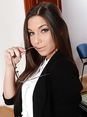 Top rated Euro babe Diana Dolce rids secretary outfit for nude poses