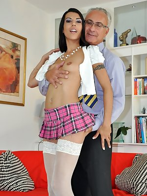 Horny French MILF Lou Charmelle loves bouncing around on a senior's cock