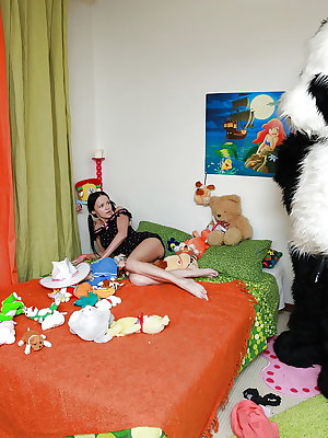 Petite teenage sweetie spends some good time with her panda toy