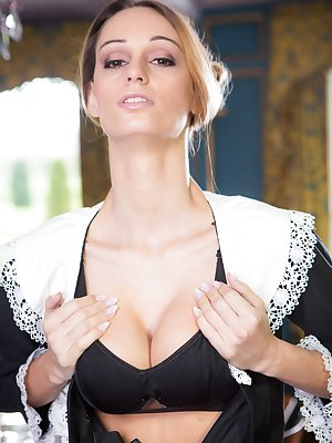 Maid Erica Fontes does an amazing striptease where she shows off her goods