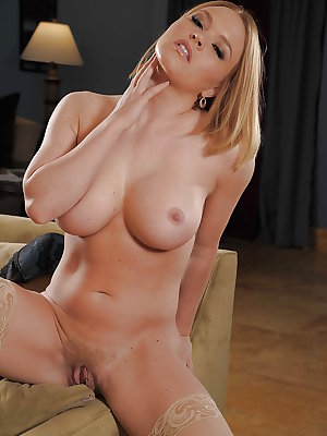 Cute wife babe takes off lingerie and shows her tender cunt