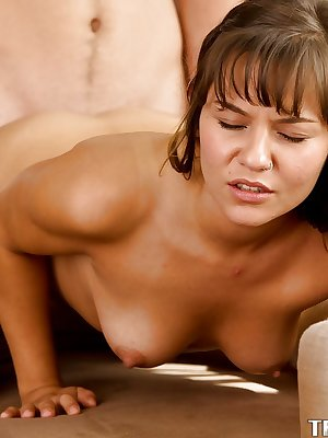 Lovesome babe Rio Petite mounts big cock and catches sperm with lips