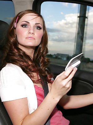 Young hottie Lily Carter learns the hard way that texting and driving is bad
