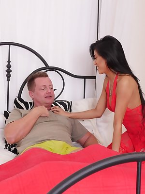 Asian female Ember Snow nurses her man back to health with a BJ and a fuck