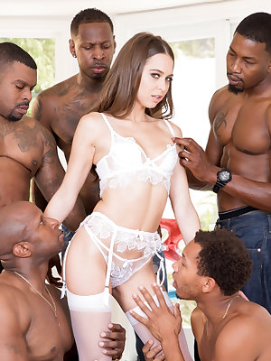 Phenomenal pornstar in white lingerie Riley Reid got gangbanged by black men