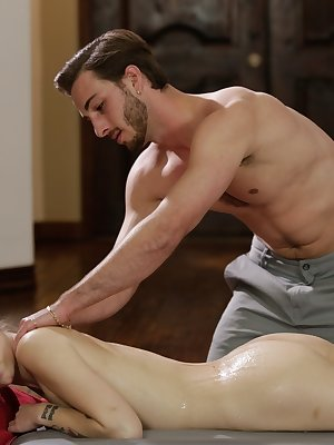 Young blonde girl Alex Grey checks in for a nuru massage and gets fucked too