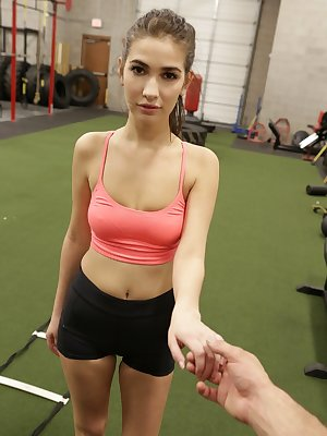 Athletic girl Olivia Nova drips jizz from her mouth after sex in the gym