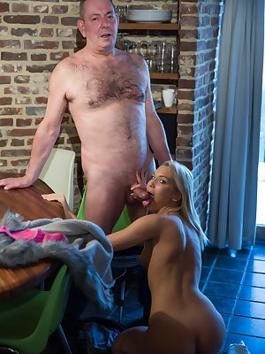 Charming babe Cecilia Scott gets bent over the table and drilled hard
