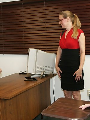 Lusty teacher Sara James gives her big dick student a BJ and gets facialed