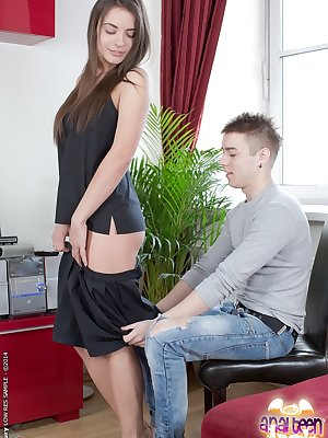 Hardcore anal fuck with a teen brunette Magy and her sweet lover